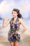 Outdoor fashion portrait. Spring twilight beauty Stock Photos
