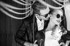 Outdoor fashion portrait of young beautiful couple. Valentine's Day. Love. Wedding. Black and white Stock Photos