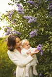 Mother and daughter in blossoming park royalty free stock photography