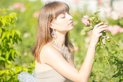 Outdoor fashion portrait of young beautiful sensual brunette royalty free stock image