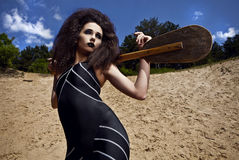 Outdoor fashion shot of young woman in swimsuit. Royalty Free Stock Photo
