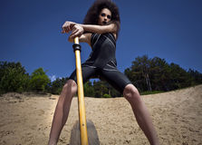 Outdoor fashion shot of young woman in swimsuit. Royalty Free Stock Photography