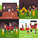 Outdoor Fest Design Concept. Open air festival design concept with flat people characters dancing playing music relaxing in camping park vector illustration Royalty Free Stock Image