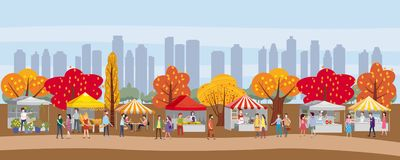 Outdoor festival with food trucks, awnings, tents, ice cream, coffee, hot dog, flowers, bakery, walking people, men and royalty free illustration
