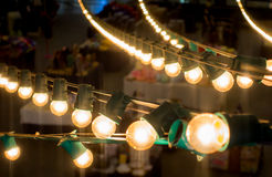 Outdoor Festival market lighting line. Royalty Free Stock Photography