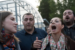 Outdoor Festival of Orthodox singing Stock Photo