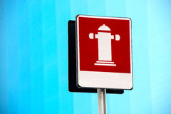 Outdoor fire hydrant street sign for firefighting Stock Images