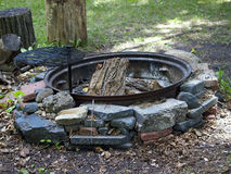 Outdoor Fire Ring. With Wood and Cooking Grill Stock Photography