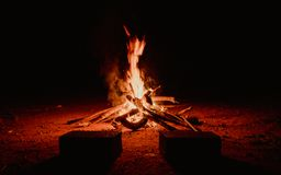 Outdoor Fireplace during Nighttime Royalty Free Stock Image