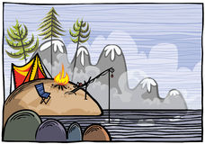 Outdoor fishing illustration. Royalty Free Stock Image