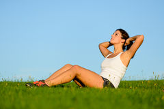 Outdoor fitness crunches workout Stock Photography