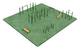 Outdoor fitness equipment for workout in public park. 3D rendering Stock Images
