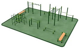 Outdoor fitness equipment for workout in public park. 3D rendering Stock Photos