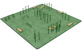 Outdoor fitness equipment for workout in public park. 3D rendering Royalty Free Stock Photo