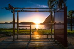 Outdoor fitness station by sunrise stock image