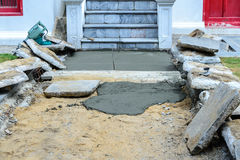 Outdoor floor cement construction.  Stock Photos