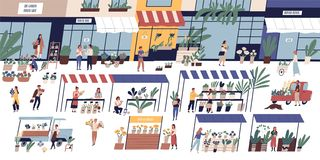 Outdoor flower market with happy tiny people or customers walking among stalls, florists selling bouquets and potted stock illustration