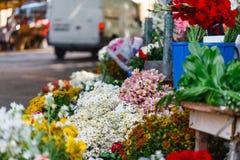 Outdoor flower market. On street Stock Photo