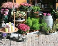 Outdoor flowershop. Flowers for sale in Copenhagen, Denmark Royalty Free Stock Photography