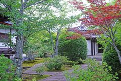 Outdoor footpath, green plants and pavilion in the Japanese zen. The outdoor footpath, green plants and pavilion in the Japanese zen garden stock image