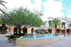 Outdoor fountain, businesses, stores in South Florida Royalty Free Stock Images