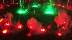 Outdoor fountain with colorful light display at night stock video