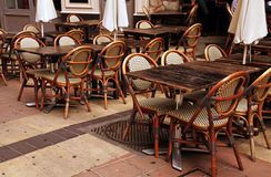 Outdoor french cafe in Old Town of Nice, France Royalty Free Stock Photography