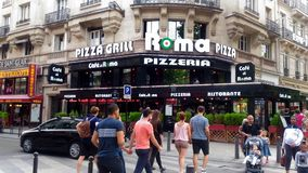 Outdoor French Pizzeria In Paris-France stock images