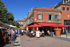 Outdoor french restaurant on Cours Saleya, Nice, France. Stock Images