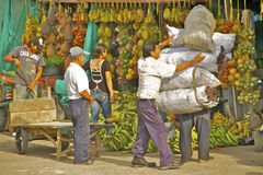 Outdoor Fruit Market 2, Leticia, Colombia. Man carrying heavy loads at chaotic colorful outdoor market Royalty Free Stock Image