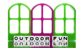 Outdoor fun message with red and green doors Royalty Free Stock Image