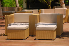 Outdoor furniture. Comfortable outdoor furniture in the afternoon sun Royalty Free Stock Images