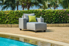 Outdoor furniture with cushions and pillows. Water resistant outdoor sofa chair with cushions and pillows Stock Image