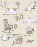 Outdoor furniture leisure color. Sketch of a set of furniture and decor for the garden color violet, beige Stock Photo