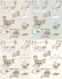 Outdoor furniture leisure  seam. Sketch of a set of furniture and decor for the garden  - violet, beige  pastel shades seamless Stock Photography