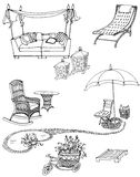 Outdoor furniture leisure. Sketch of a set of furniture and decor for the garden, black and white Royalty Free Stock Photography