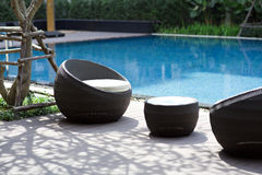 Outdoor furniture rattan chairs Stock Photo