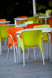Outdoor furniture of a restaurant or a cafeteria Stock Photos