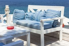 Outdoor furniture and sea Stock Photo