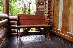 Outdoor furniture: teak wooden chair Royalty Free Stock Image