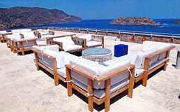 Outdoor furniture and terrace seaview (Crete, Greece) Royalty Free Stock Photos