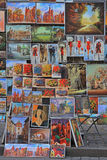 Outdoor gallery nearly the city walls of Krakow. Krakow, Poland - October 29, 2015: Outdoor gallery nearly the city walls of Krakow Royalty Free Stock Photography