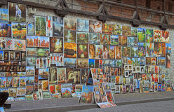 Outdoor gallery nearly the city walls of Krakow. Krakow, Poland - October 29, 2015: Outdoor gallery nearly the city walls of Krakow Stock Photo