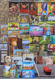 Outdoor gallery nearly the city walls of Krakow. Krakow, Poland - October 29, 2015: Outdoor gallery nearly the city walls of Krakow Royalty Free Stock Photos
