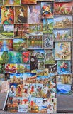 Outdoor gallery nearly the city walls of Krakow. Krakow, Poland - October 29, 2015: Outdoor gallery nearly the city walls of Krakow Royalty Free Stock Photo