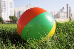 Outdoor games. Ball for outdoor games lying on grass in city park royalty free stock images