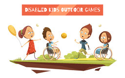 Outdoor Games Of Disabled Kids Illustration. Outdoor games of disabled kids on wheelchair and with prosthetic limbs retro and cartoon style vector illustration Royalty Free Stock Image