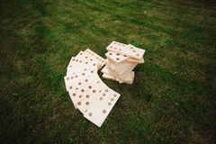 Outdoor games - dominoes, giant outdoor game on green grass.  stock photos