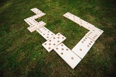 Outdoor games - dominoes, giant outdoor game on green grass.  stock image