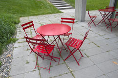Outdoor garden chairs. Nice design of outdoor table and chairs Royalty Free Stock Images